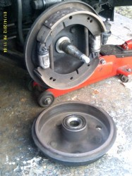 YB brake drum removed (puller may be needed).
